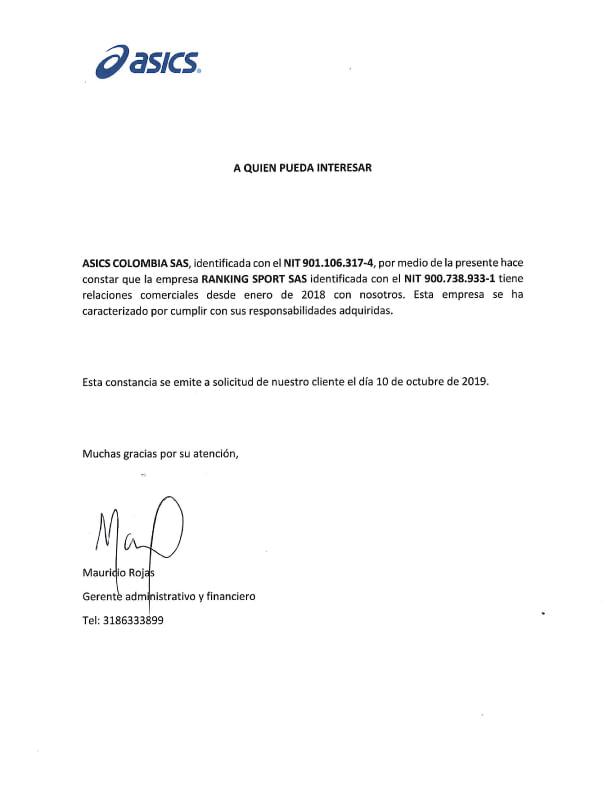 Certificado de Marcas ASICS