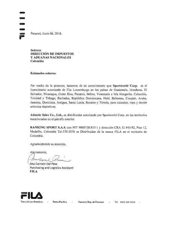 Certificado de Marcas FILA