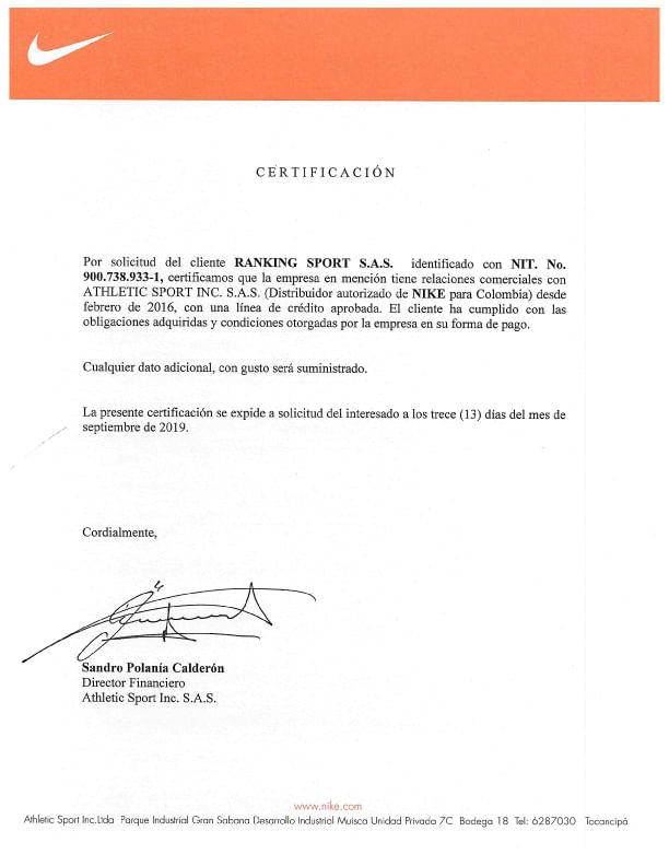 Certificado de Marcas NIKE