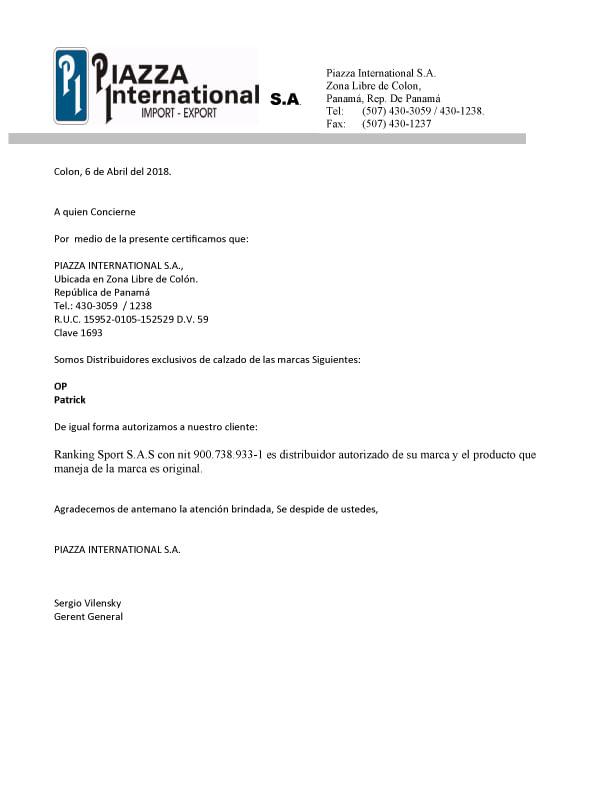 Certificado de Marcas PATRICK