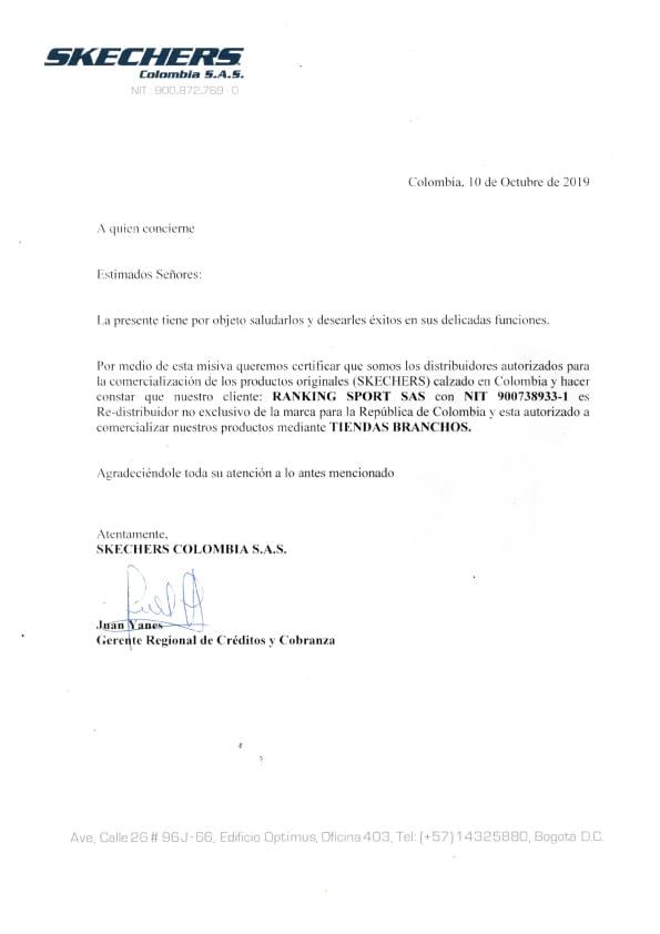 Certificado de Marcas Skechers