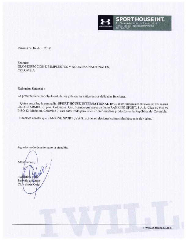 Certificado de Marcas Under Armour